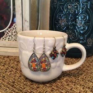 2 pair boho style earrings